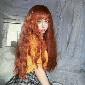 BRAND NEW IN BAG * Orange Long Curly Synthetic Wig